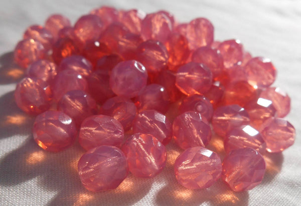 Lot of 25 8mm Czech Milky Rose Opal, round faceted firepolished glass beads, C00125