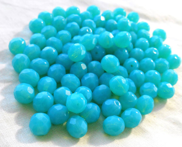 Lot of 25 8mm Czech Caribbean Milky Blue Opaque Opal round faceted firepolished glass beads, C7825 - Glorious Glass Beads