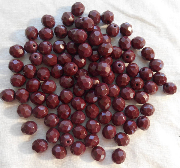 Lot of 25 8mm Czech Opaque Brown round, faceted, firepolished glass beads, C80125 - Glorious Glass Beads