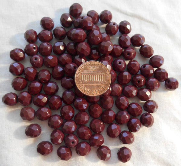 Lot of 25 8mm Czech Opaque Brown round, faceted, firepolished glass beads, C80125