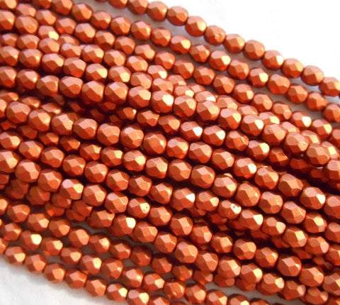 Fifty 4mm Matte Metallic Antique Copper Czech glass firepolished, faceted round beads, C5550 - Glorious Glass Beads