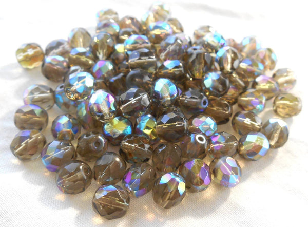 Lot of 25 8mm Black Diamond AB, faceted round firepolished glass beads, C2625