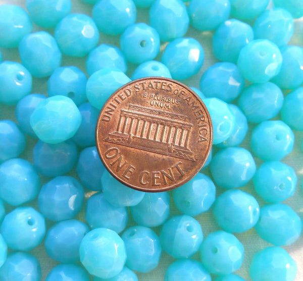 Lot of 25 8mm Czech Caribbean Milky Blue Opaque Opal round faceted firepolished glass beads, C7825