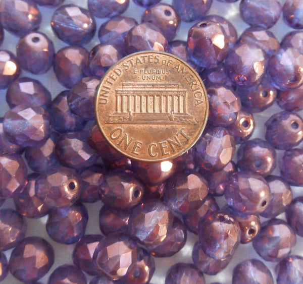 Lot of 25 8mm Lumi Amethyst beads, faceted, round, firepolished glass beads, C8525