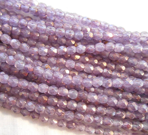Fifty 4mm Czech glass Luster Translucent Stone Pink firepolished faceted round beads, C5550 - Glorious Glass Beads