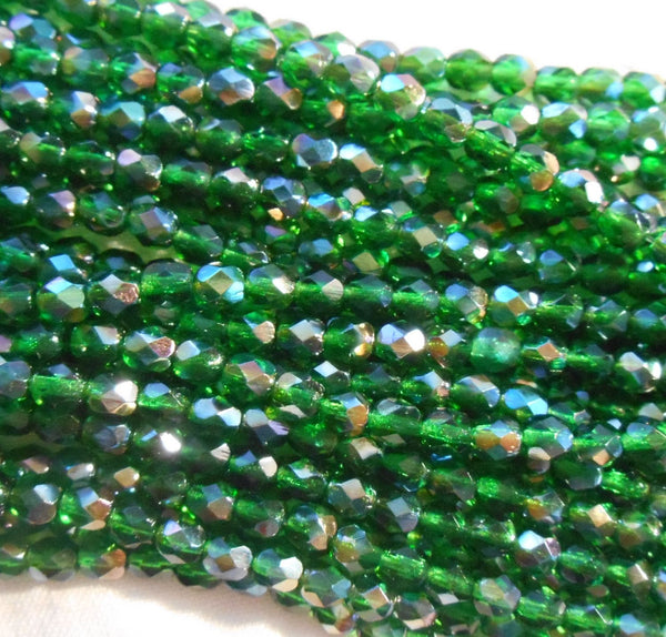 Fifty 4mm Czech Emerald Celsian Green glass round faceted firepolished beads, C5550 - Glorious Glass Beads