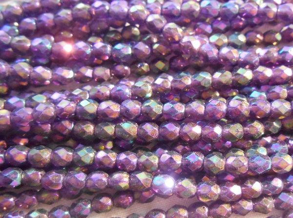 Fifty 4mm Czech Luster Iris Tanzanite glass round faceted firepolished beads, C5550 - Glorious Glass Beads