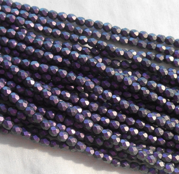 Fifty 4mm Czech Polychrome Black Currant opaque purple glass round faceted firepolished beads, C6750 - Glorious Glass Beads