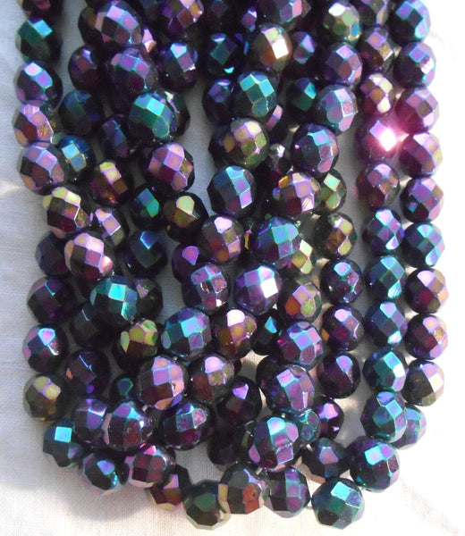 Lot of 25 8mm Purple Iris, faceted, round, firepolished glass beads, C2525