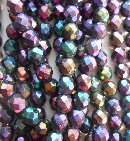 Lot of 25 8mm Purple Iris, faceted, round, firepolished glass beads, C2525 - Glorious Glass Beads