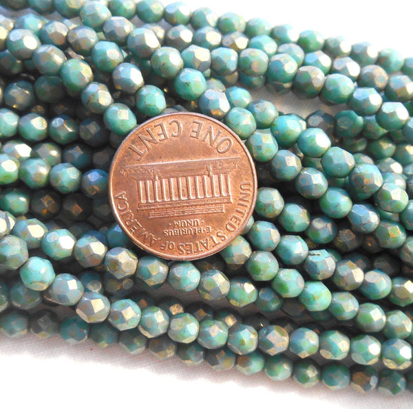 Fifty 4mm Turquoise Copper Picasso Czech glass firepolished, faceted round beads, C1650 - Glorious Glass Beads