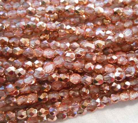 Fifty 4mm Apollo Gold Czech glass crystal and gold firepolished, faceted round beads, C5550 - Glorious Glass Beads