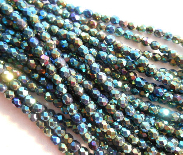 Fifty 4mm Iris Green Czech glass firepolished, faceted round beads, C5550 - Glorious Glass Beads