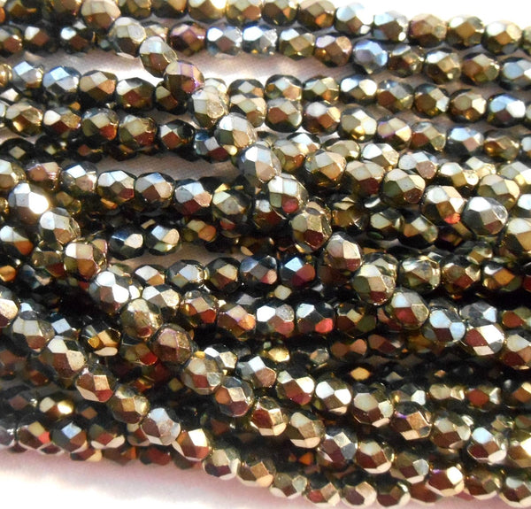 Fifty 4mm Brown Iris, faceted, round, firepolished glass beads, C5550 - Glorious Glass Beads