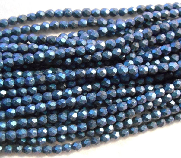 Fifty 4mm Polychrome Indigo Czech glass firepolished, faceted round beads, C6750