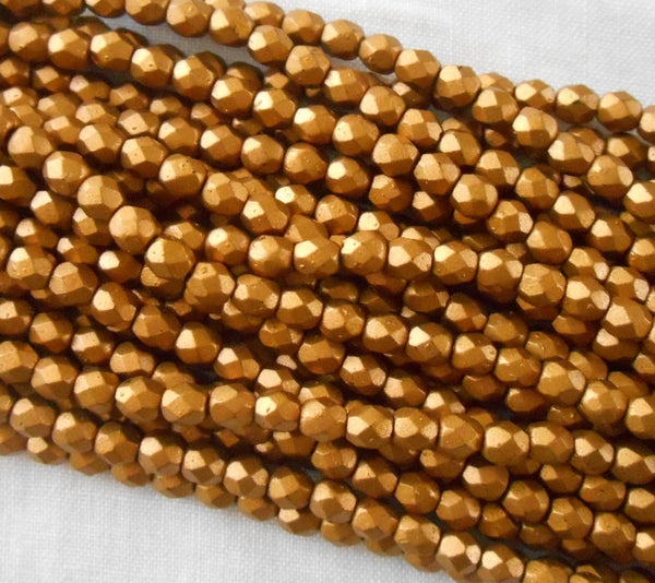 Fifty 4mm Matte Metallic Gold Goldenrod Czech glass firepolished, faceted round beads, C9650 - Glorious Glass Beads