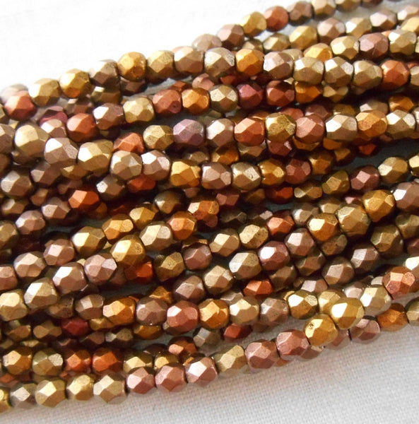Fifty 3mm Czech Matte Metallic Gold Iris glass round faceted firepolished beads, C1550