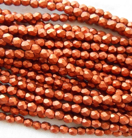 Fifty 3mm Matte Metallic Antique Copper Czech glass, firepolished, faceted round beads C1550 - Glorious Glass Beads
