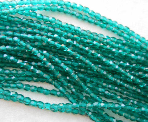 Fifty 3mm Czech Teal, Viridian glass round faceted firepolished beads, C1550 - Glorious Glass Beads
