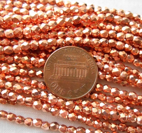 Fifty 3mm Czech Bright Copper metallic glass round faceted firepolished beads, C6650 - Glorious Glass Beads