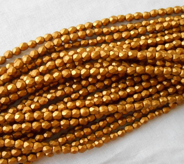 Fifty 3mm Matte Metallic Antique Gold Czech glass firepolished, faceted round beads, C1550 - Glorious Glass Beads