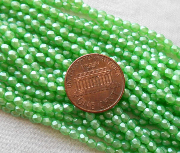 Fifty 3mm Czech Luster Satin Green glass, round faceted firepolished beads, C6650 - Glorious Glass Beads