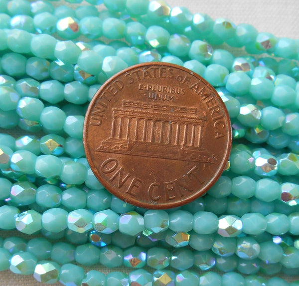 Fifty 3mm Opaque Turquoise AB Czech glass, firepolished, faceted round beads, C4550 - Glorious Glass Beads