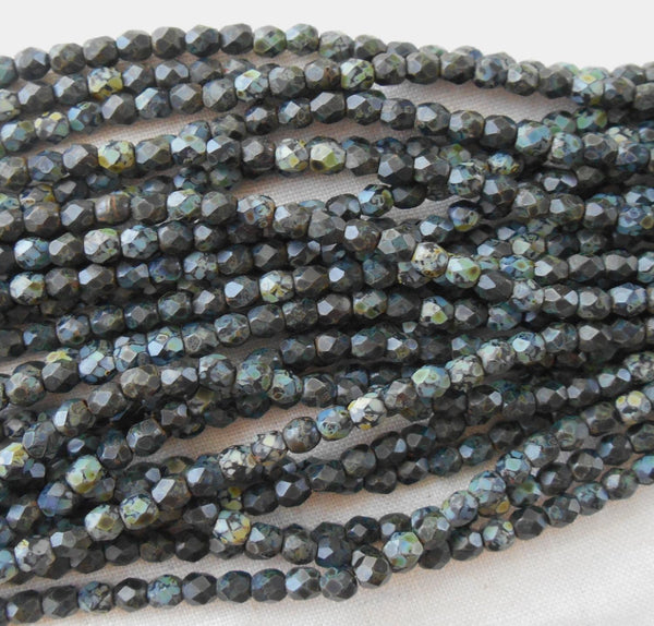 Fifty 3mm Czech Matte Jet Black Picasso glass round faceted firepolished beads, C8450