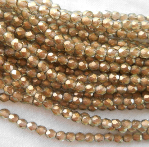 Fifty 3mm Halo Linen Czech Green glass over gold firepolished, faceted round beads, C8625 - Glorious Glass Beads