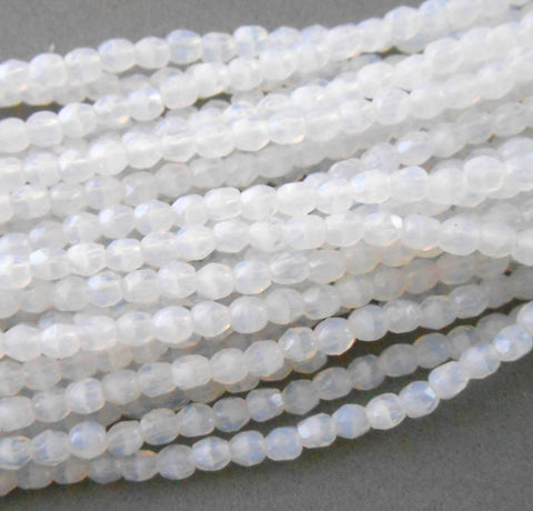 Fifty 3mm Opaque Milky White Czech glass firepolished, faceted round beads, C1550 - Glorious Glass Beads