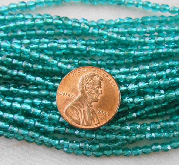 Fifty 3mm Czech Teal, Viridian silver lined glass round faceted firepolished beads, C8450 - Glorious Glass Beads