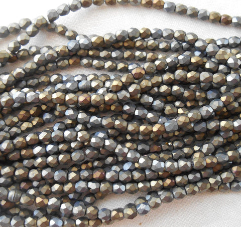 Fifty 3mm Matte Brown Iris, faceted, round, firepolished glass beads, C8450 - Glorious Glass Beads