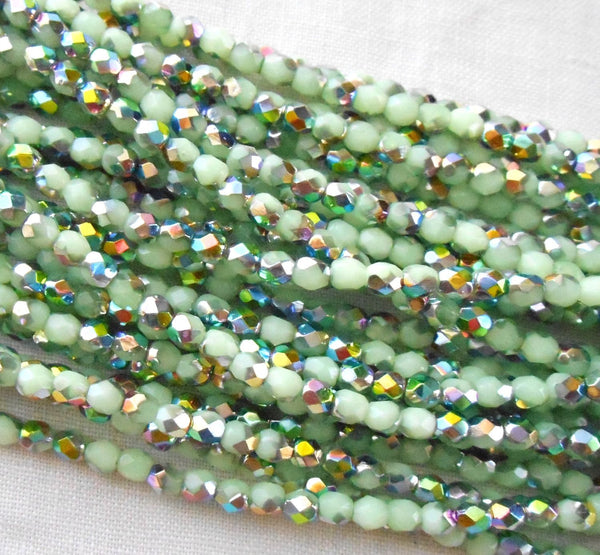 Fifty 3mm Vitral Milky Peridot Green Czech glass firepolished, faceted round glass beads, C8450 - Glorious Glass Beads