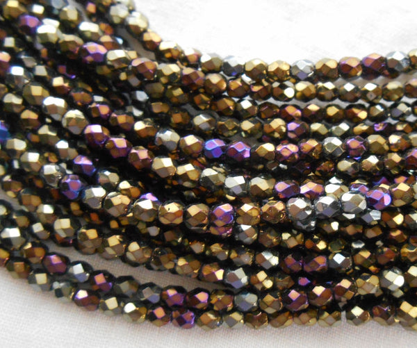 Fifty 3mm Brown Iris, faceted, round, firepolished glass beads, C8450 - Glorious Glass Beads