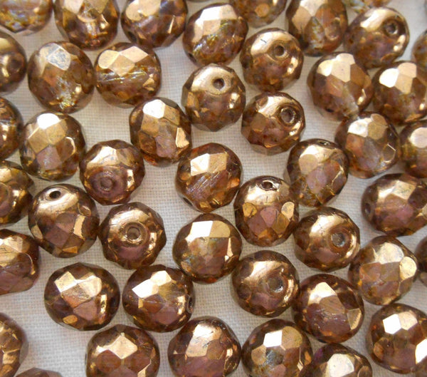 Lot of 25 8mm Czech Iridescent Lumi Brown, round, faceted, firepolished glass beads, C00125