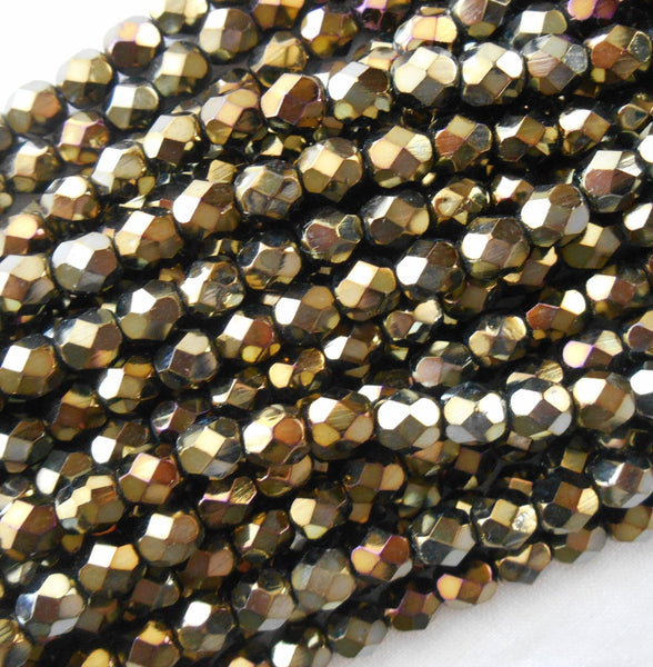 Lot of 25 6mm Brown Iris, faceted, round, firepolished glass bead,s C6425