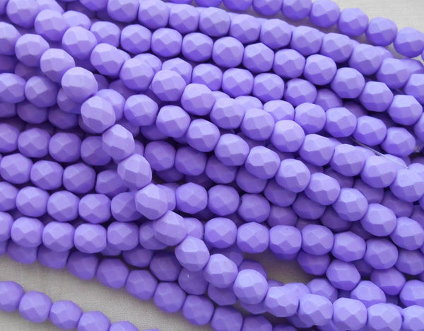 25 6mm Saturated Purple glass beads, firepolished, bright purple faceted round beads C2725 - Glorious Glass Beads
