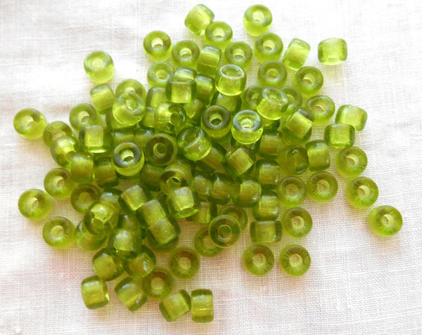 Fifty 6mm Green Olivine Czech glass pony roller beads, large hole crow beads, C7350