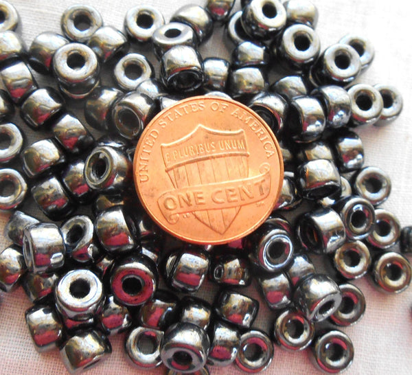 Fifty 6mm Czech Hematite Metallic Gray glass pony roller beads, large hole crow beads, C1450 - Glorious Glass Beads