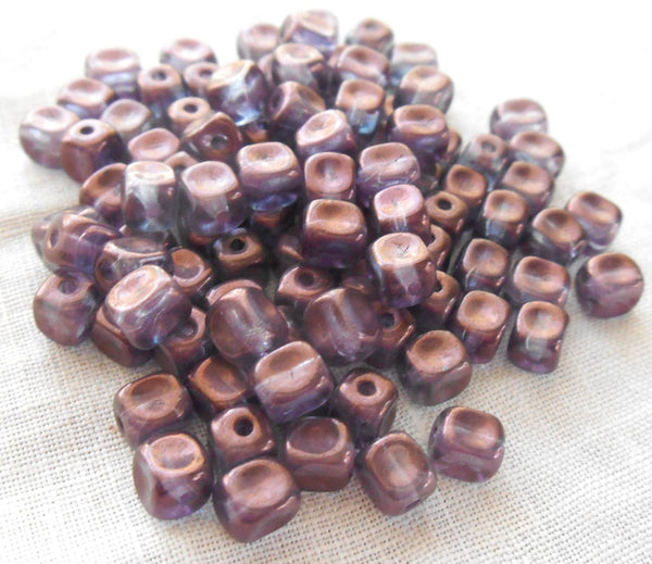 Fifty Czech glass dimpled Lumi Amethyst, Purple cube beads, 5mm x 4mm, C6525 - Glorious Glass Beads