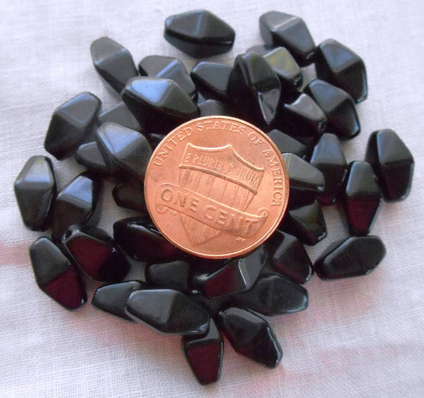 Lot of 25 11mm x 7mm Opaque Jet Black Czech glass lantern or tube beads, C8025