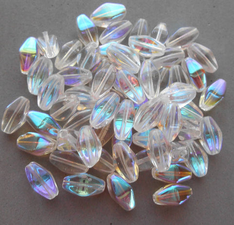 Lot of 25 11mm x 7mm Crystal AB Czech glass lantern or tube beads, C6225 - Glorious Glass Beads