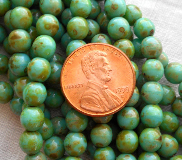 Fifty 6mm Czech glass Opaque Turquoise Picasso druk beads, 33150 - Glorious Glass Beads