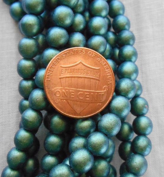 Fifty 6mm Czech glass beads, Polychrome Matte Aqua Teal Blue smooth round druk beads, C52101 - Glorious Glass Beads