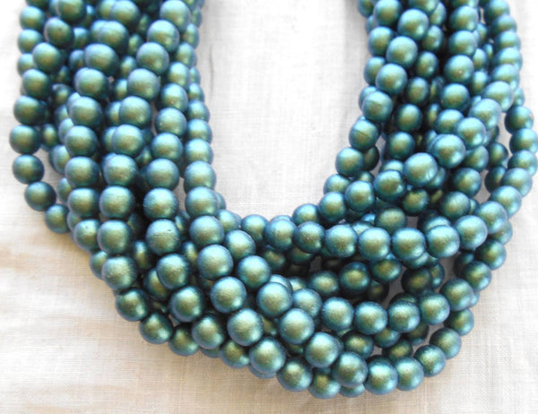 Fifty 6mm Czech glass beads, Polychrome Matte Aqua Teal Blue smooth round druk beads, C52101