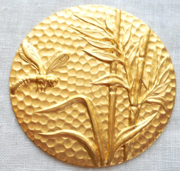 One raw brass plant & dragonfly medallion, pendant, charm, brass stamping, 42mm, made in the USA, C0601