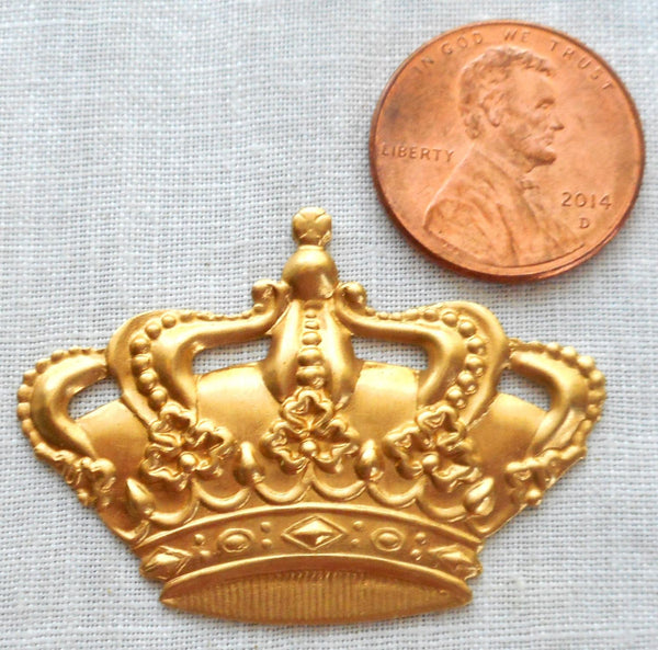 "One large raw brass Victorian Crown pendant, charm, brass stamping, ornament 1.5"" in by 1.125"" in. made in the USA, C8401 - Glorious Glass Beads"