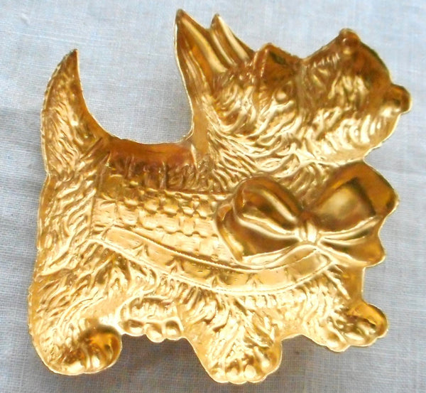 "One large raw brass Scotty Dog pendant, charm, brass stamping, 2.375"" in by 2.75"" in. made in the USA, 70101"