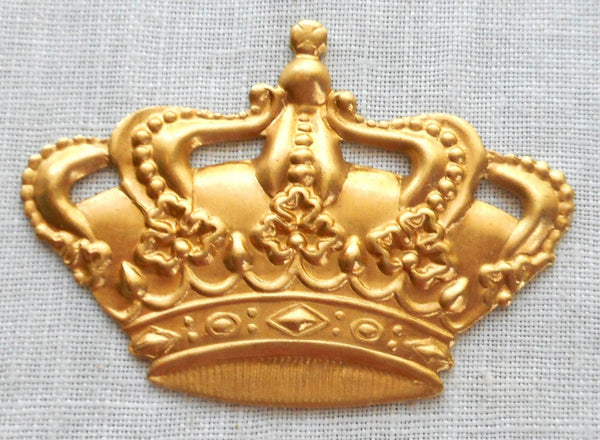 "One large raw brass Victorian Crown pendant, charm, brass stamping, ornament 1.5"" in by 1.125"" in. made in the USA, C8401"