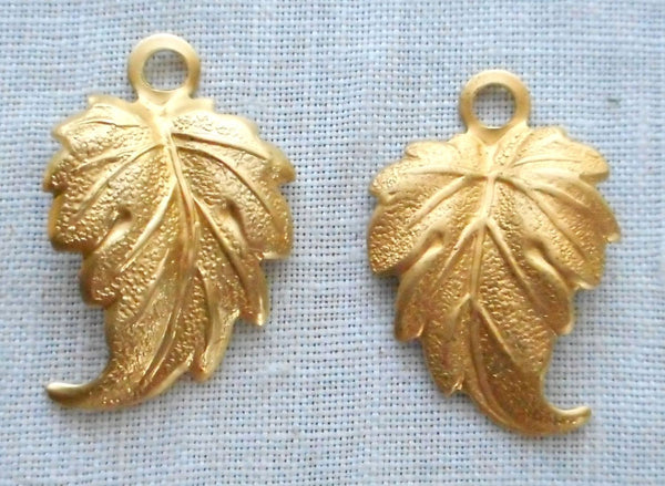 "Lot of 12 leaf pendants, charms, raw brass stampings, with ring .75"" in by .50"" in. made in the USA, 76301"